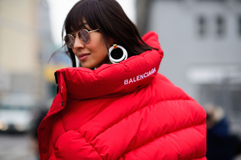 bold white earrings   nyfw street style 2017 / the stripe blog