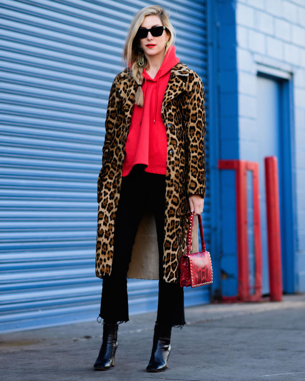 joanna hillman wearing a red hoodie and leopard coat // wearable street style nyfw fall 2017 | the stripe blog
