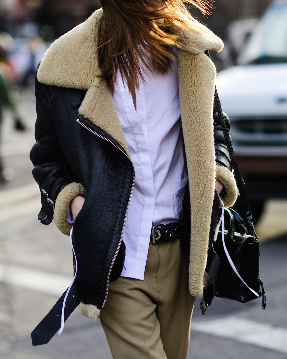 shearling jacket   wearable street style nyfw fall 2017   the stripe blog