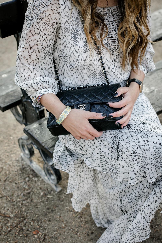palais royal paris - lace midi dress + chanel classic flap bag