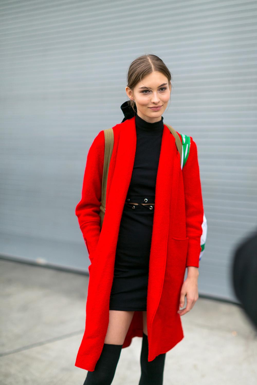 pretty red coat // wearable street style nyfw fall 2017   the stripe