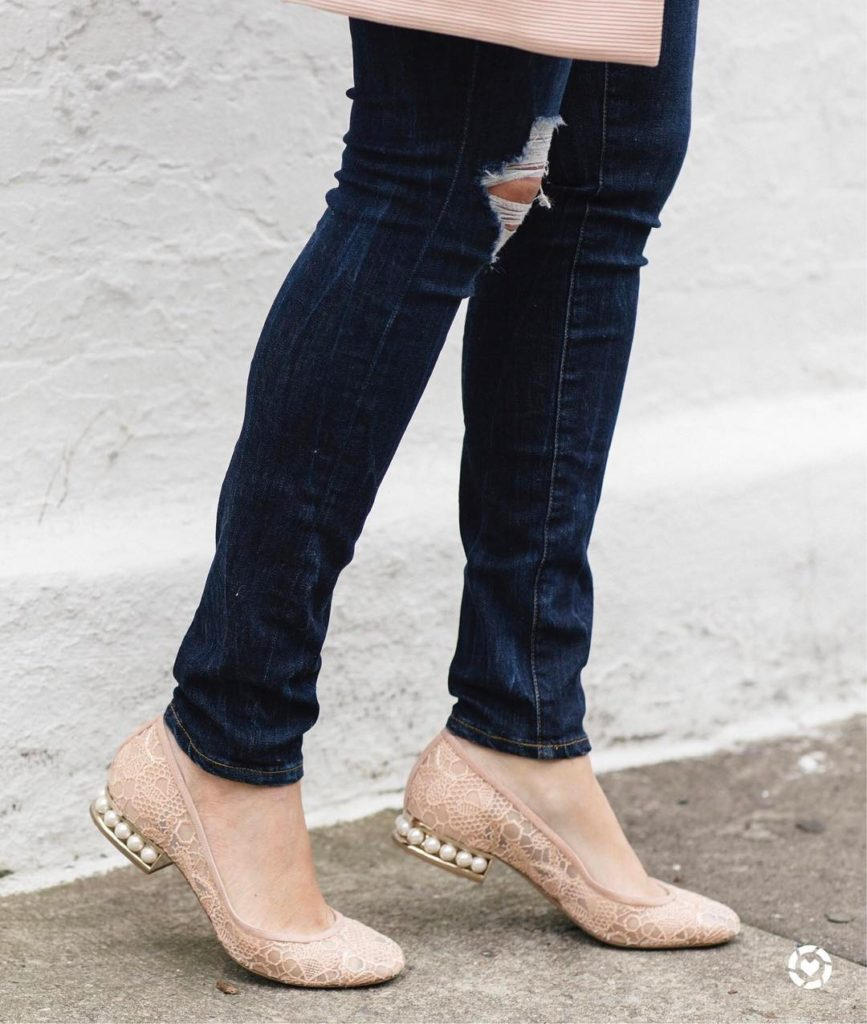 stepping into the weekend in the prettiest pearl flats! TGIFhellip