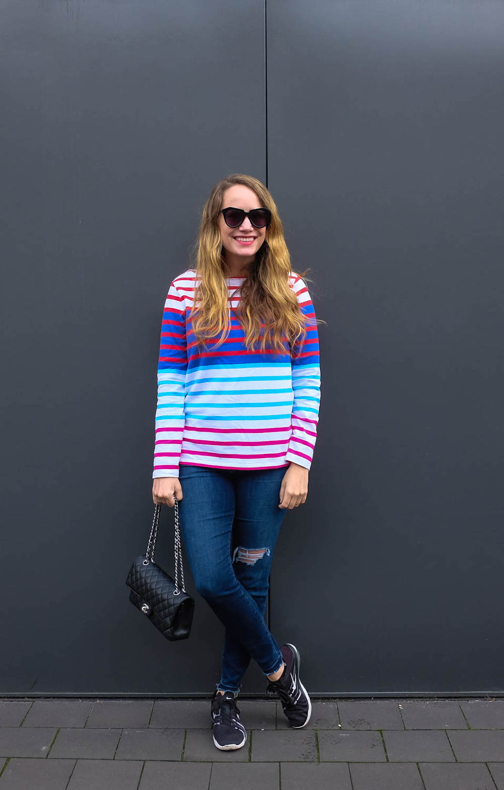 grace atwood, vineyard vines long-sleeve nautical multi-stripe top