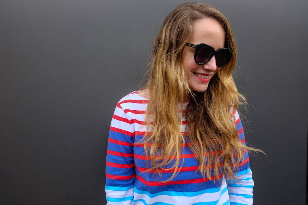 vineyard vines long-sleeve nautical multi-stripe top, karen walker number one sunglasses | grace atwood, the stripe