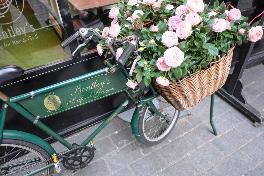 bicycle with flower basket - bentley's seafood grocers london