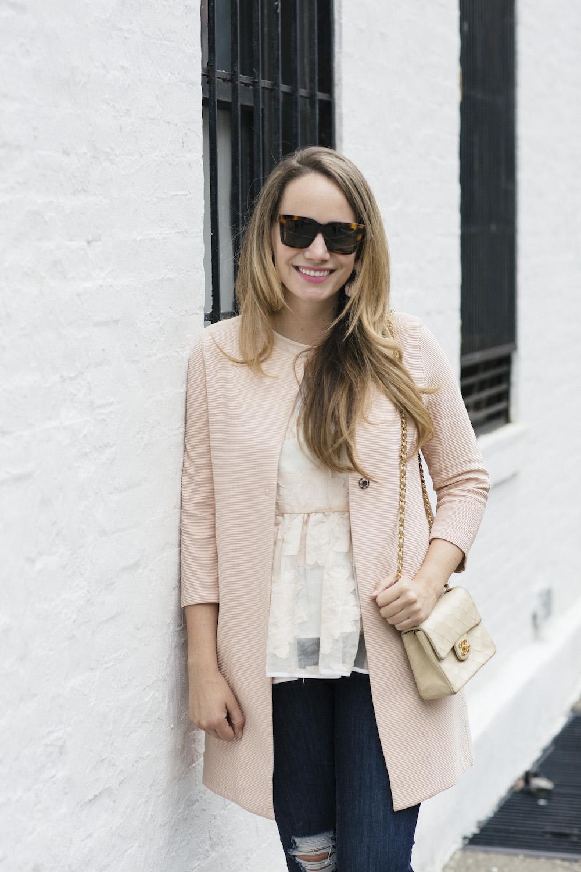 harris wharf blush jacket, tibi peplum top, good american good legs jeans, nicholas kirkwood lace + pearl flats | grace atwood, the stripe