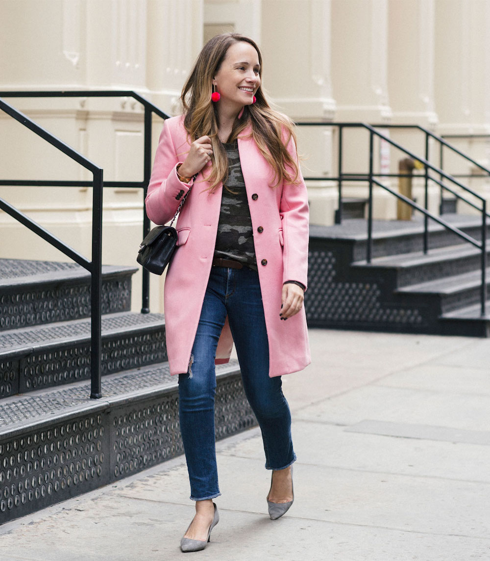 j.crew pink regent topcoat, sanctuary camo sweater + baublebar pom pom earrings | grace atwood, the stripe