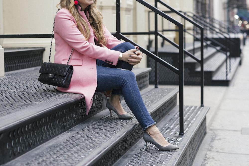 j.crew pink regent topcoat, sanctuary camo sweater + baublebar pom pom earrings   grace atwood, the stripe