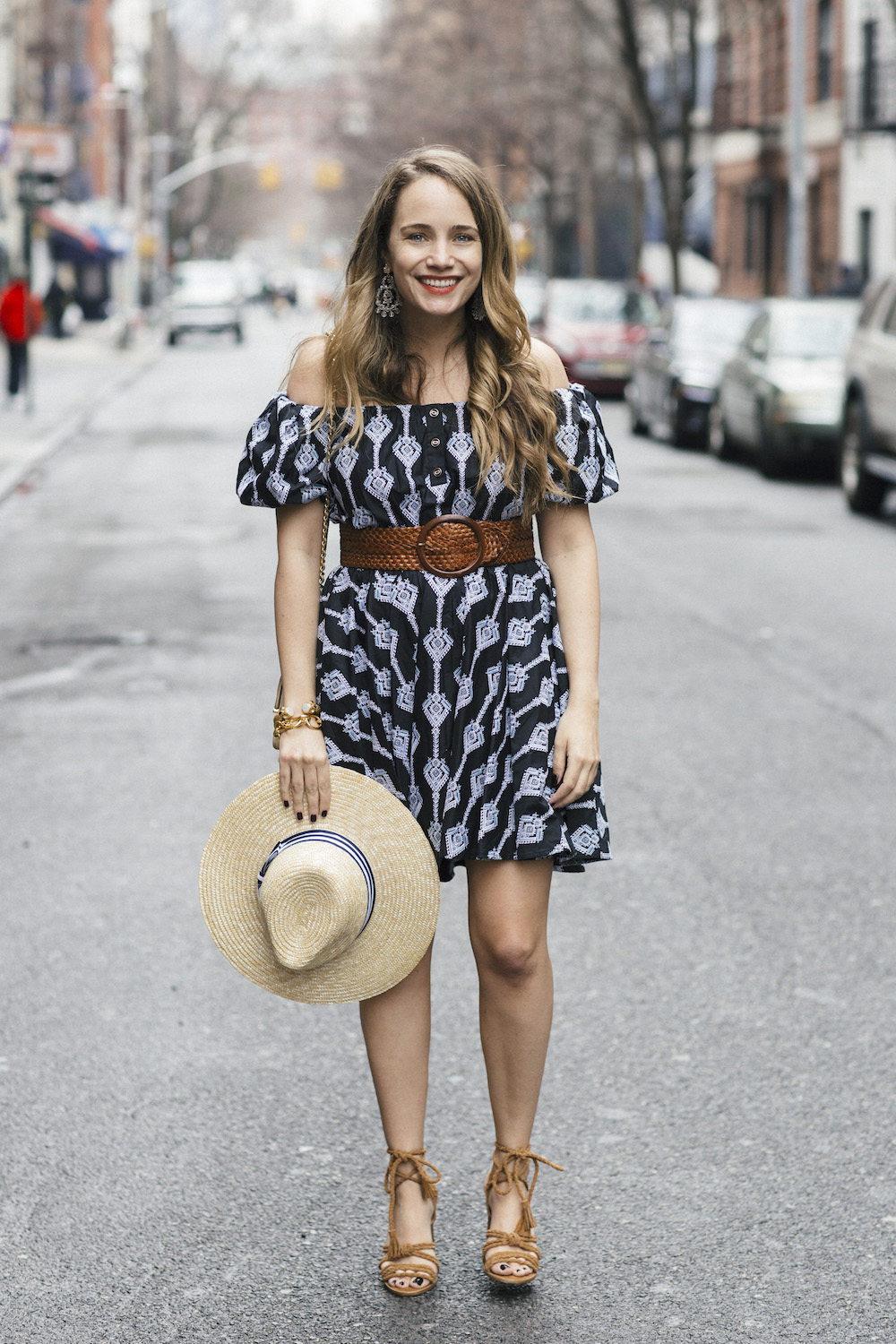 caroline constas bardot dress // joie banji wrap sandals | grace atwood, the stripe
