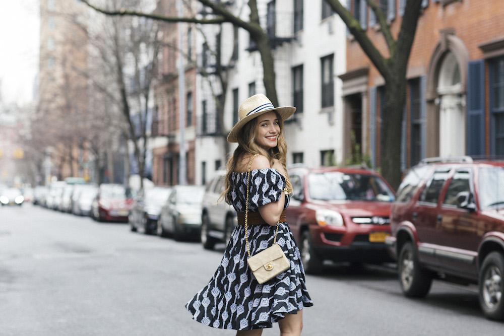 caroline constas bardot dress, joie banji wrap sandals   grace atwood, the stripe