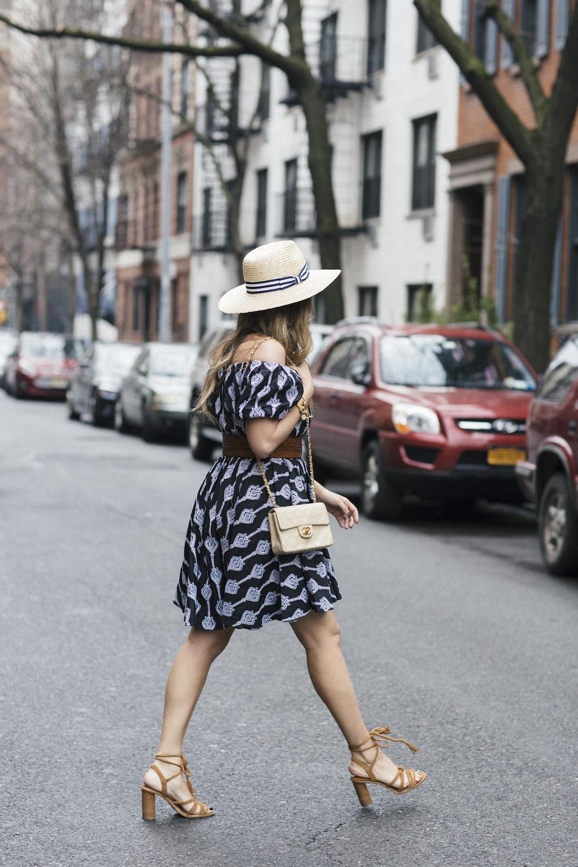 caroline constas bardot dress, joie banji wrap sandals   grace atwood the stripe