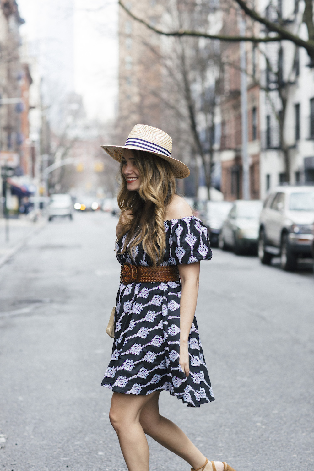 caroline constas bardot dress, joie banji wrap sandals, lemon stripes x hat attack | grace atwood the stripe