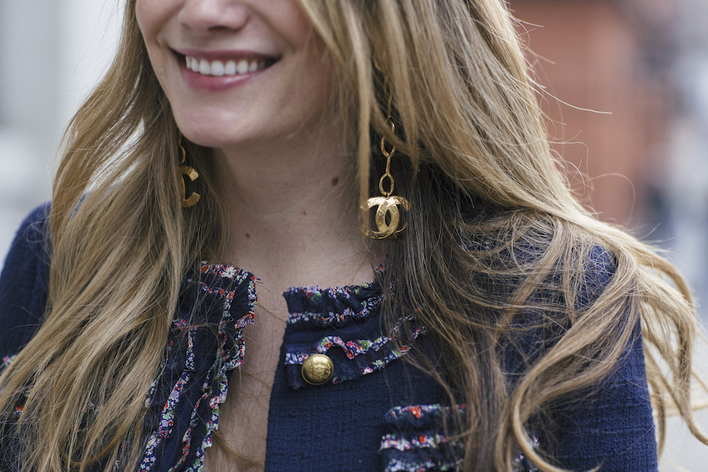 j.crew lady jacket with liberty print trim with vintage chanel earrings + how i get the news // grace atwood, the stripe