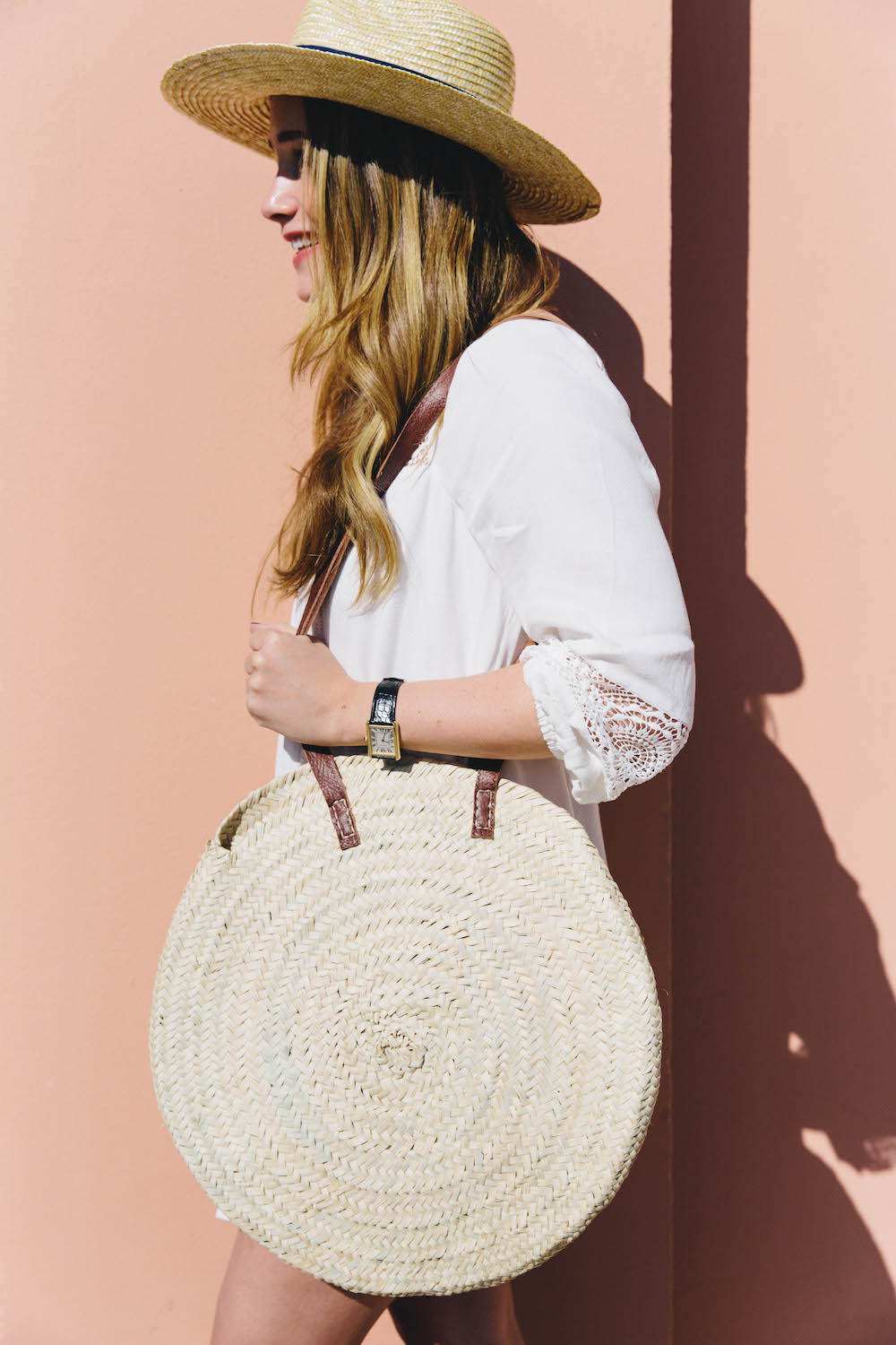 joie tabara dress, lemon stripes x hat attach hat, frenchbaskets round basket bag | grace atwood, the stripe