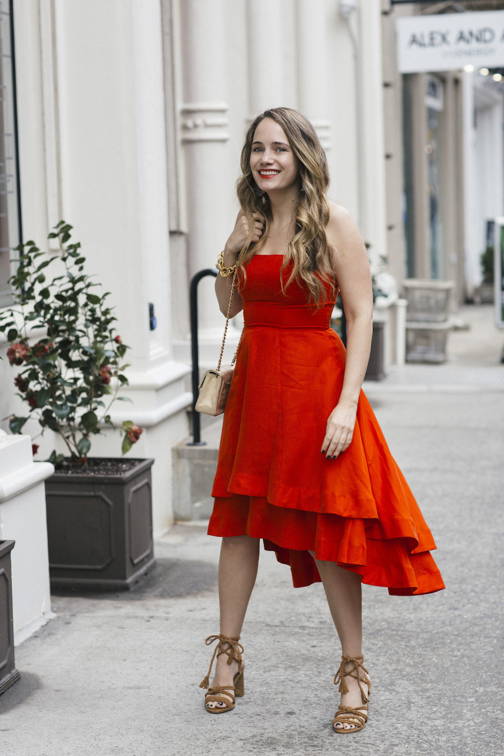 paper crown strapless red dress, joie banji wrap sandals - grace atwood, the stripe