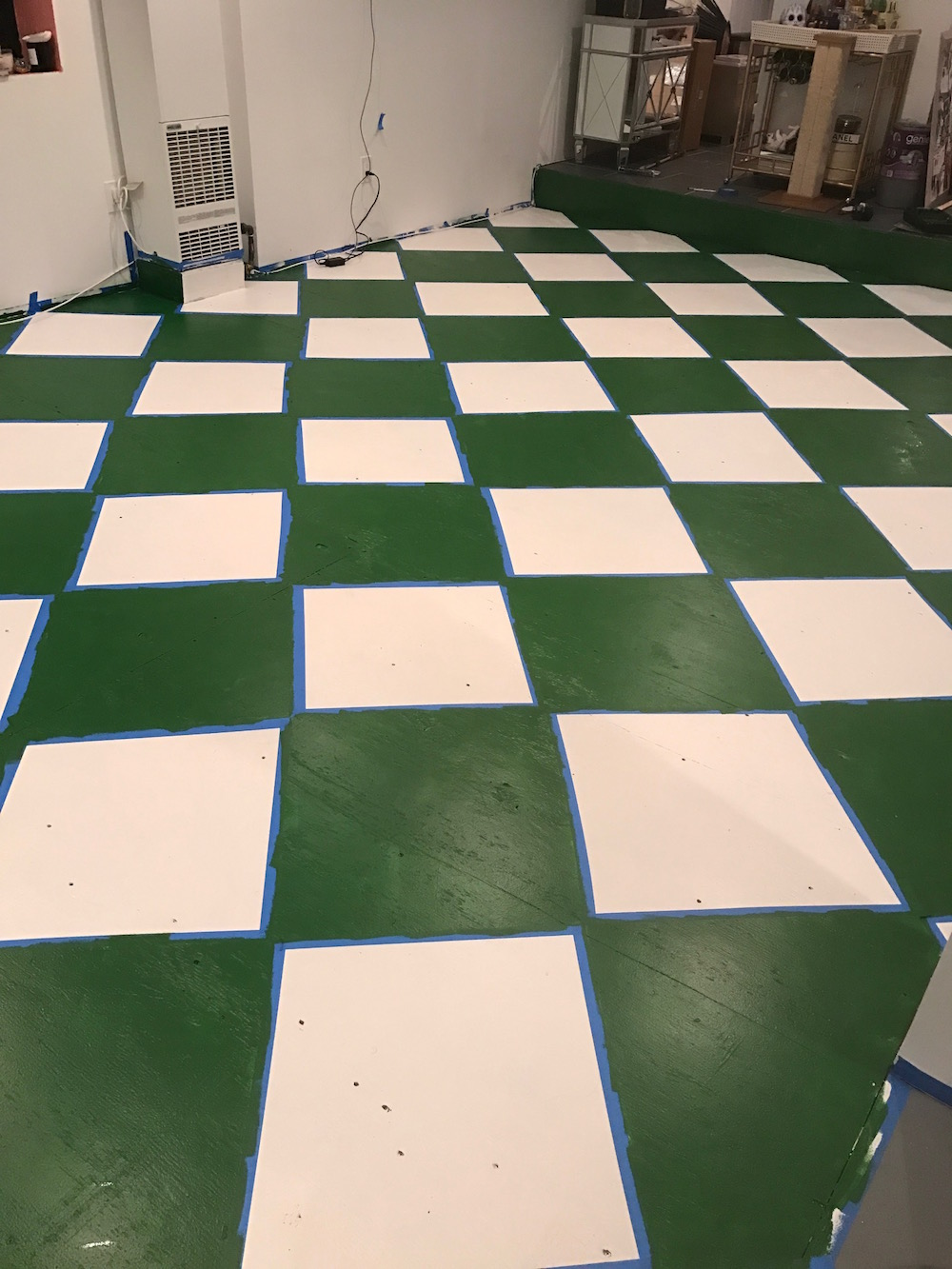 Diy checkerboard floors the stripe diy checkerboard floor tutorial the stripe dailygadgetfo Gallery