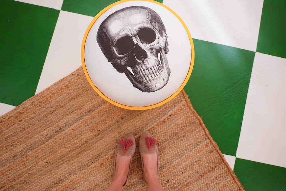 DIY checkerboard floor tutorial, vintage Kartell skull stool | The Stripe