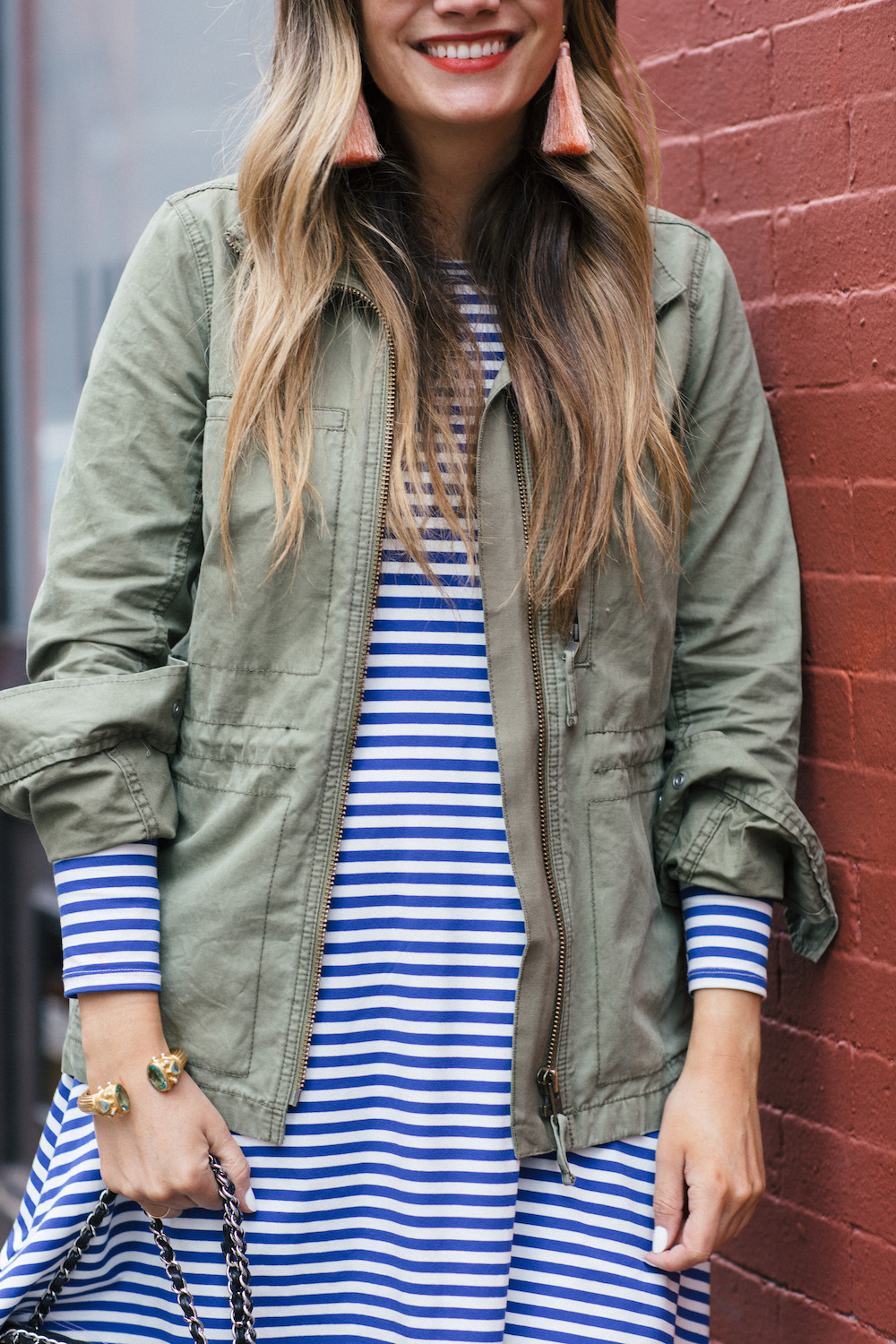 hart hagerty peach tassel earrings, madewell fleet jacket, jane hudson stripe dress | grace atwood, the stripe