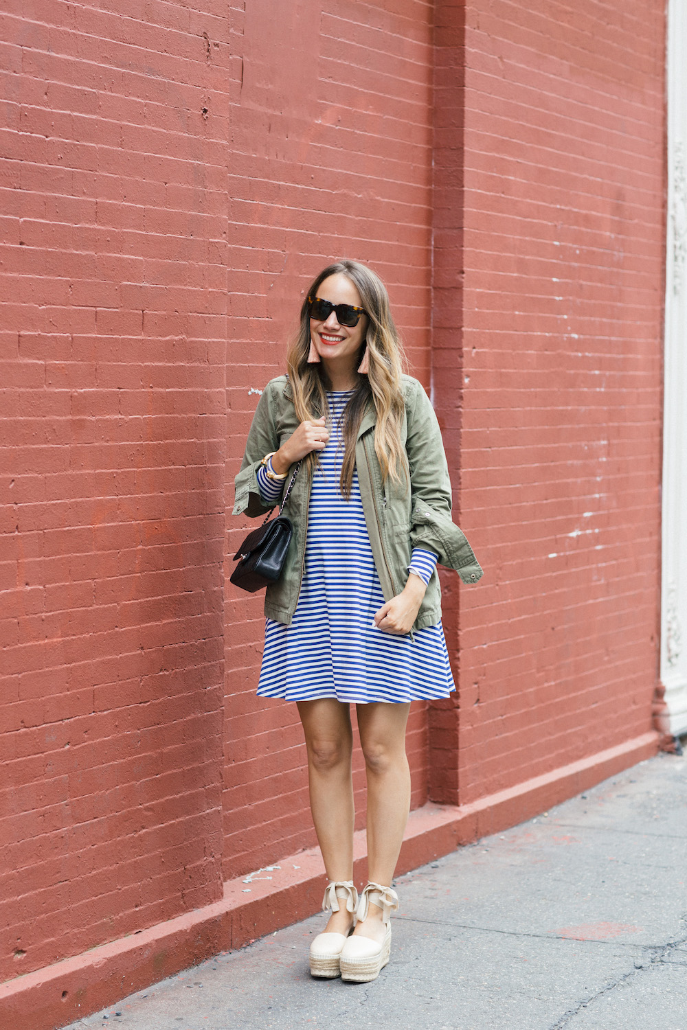 jane hudson stripe dress, madewell fleet jacket | grace atwood the stripe