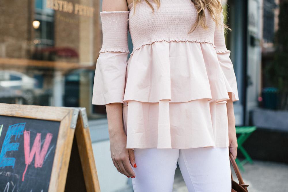 pink off the shoulder top | the stripe