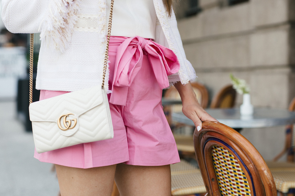 pink tie waist shorts | grace atwood, the stripe