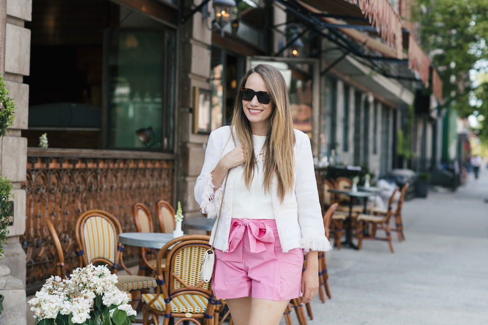 pink tie waist shorts   grace atwood, the stripe