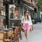Pink Tie Waist Shorts.