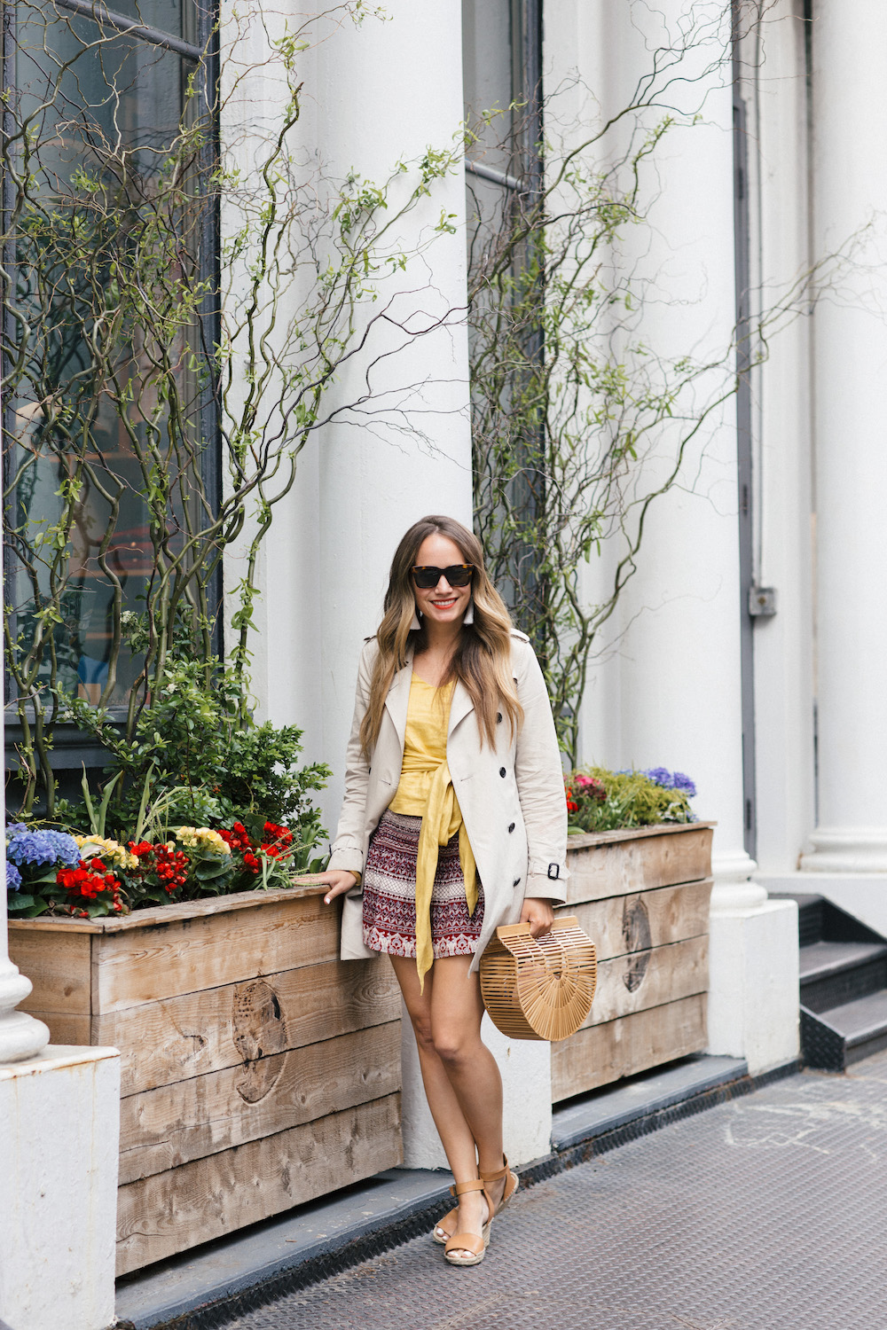sea yellow top with love sam mini skirt | grace atwood, the stripe