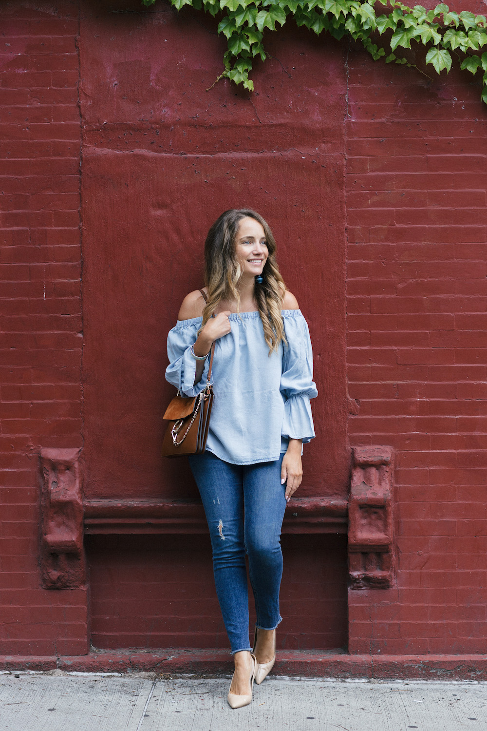 sanctuary chambray off the shoulder top | grace atwood, the stripe