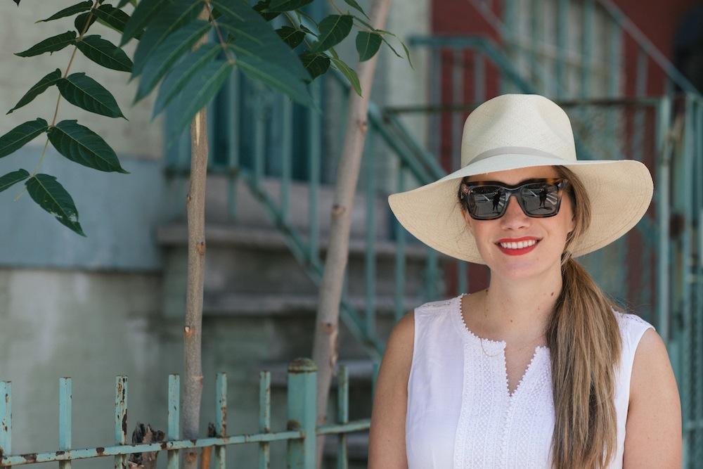 summer white dresses under $100, cuyana summer hat | the stripe