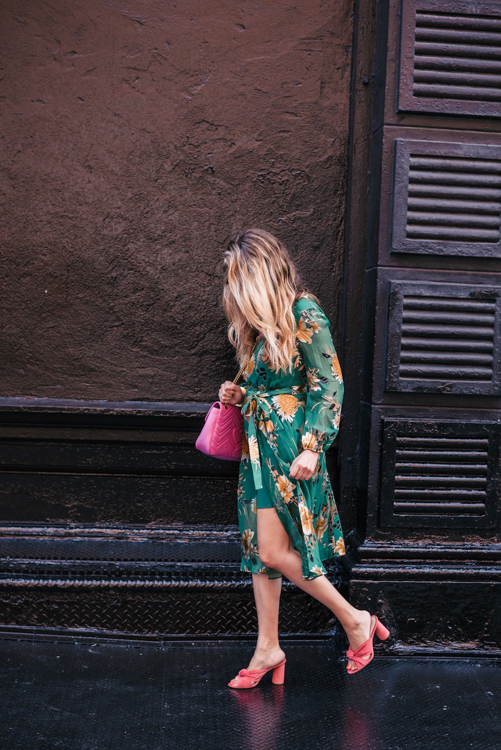 alice + olivia coco plunging midi dress, loeffler randall coco heels | grace atwood, the stripe
