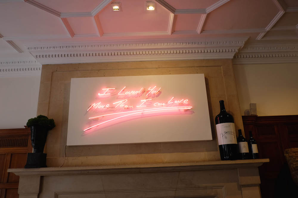 london travel diary - the stripe - hix mayfair, tracey emins neon art