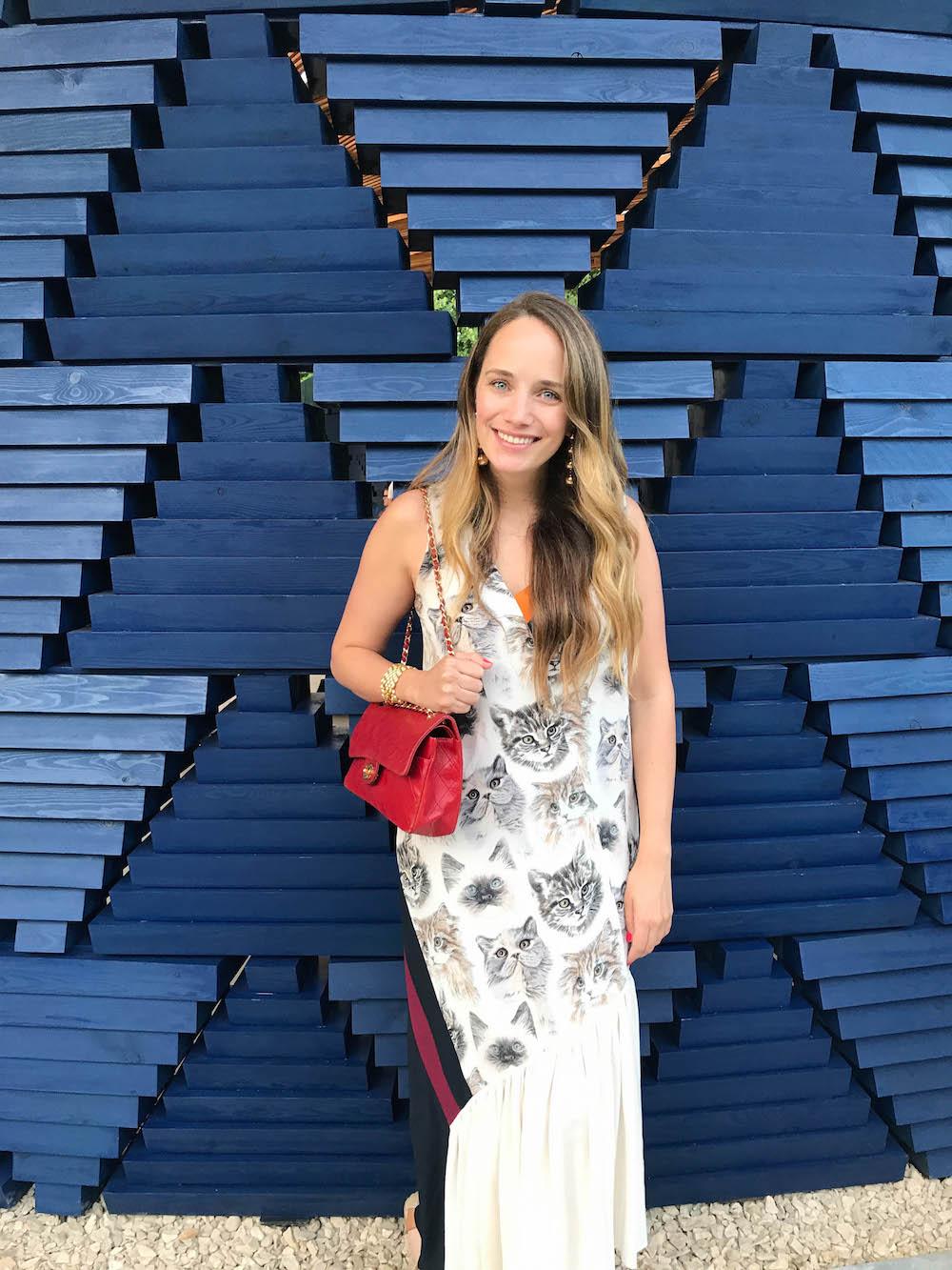 london travel diary - the stripe - serpentine pavilion opening, wearing stella mccartney cat dress