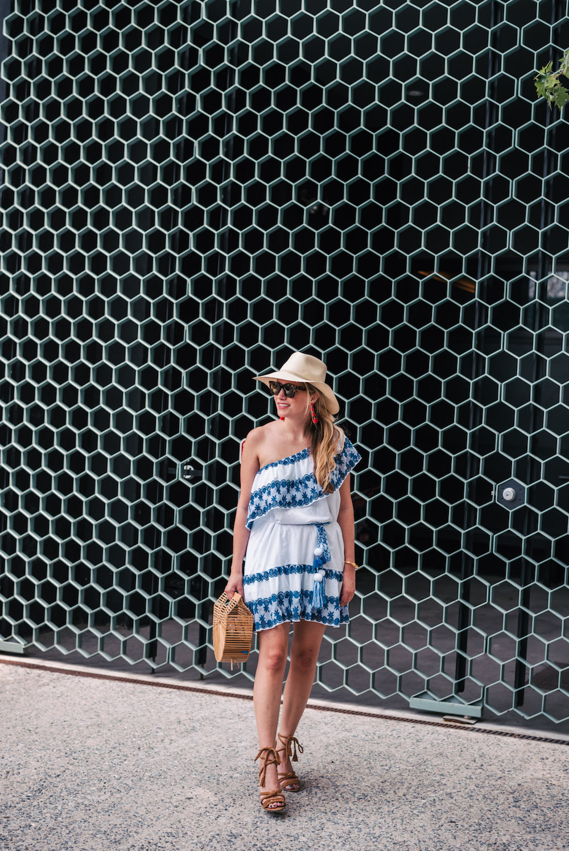 Miguelina Blue + White Dress, BaubleBar Criselda Drops | the stripe