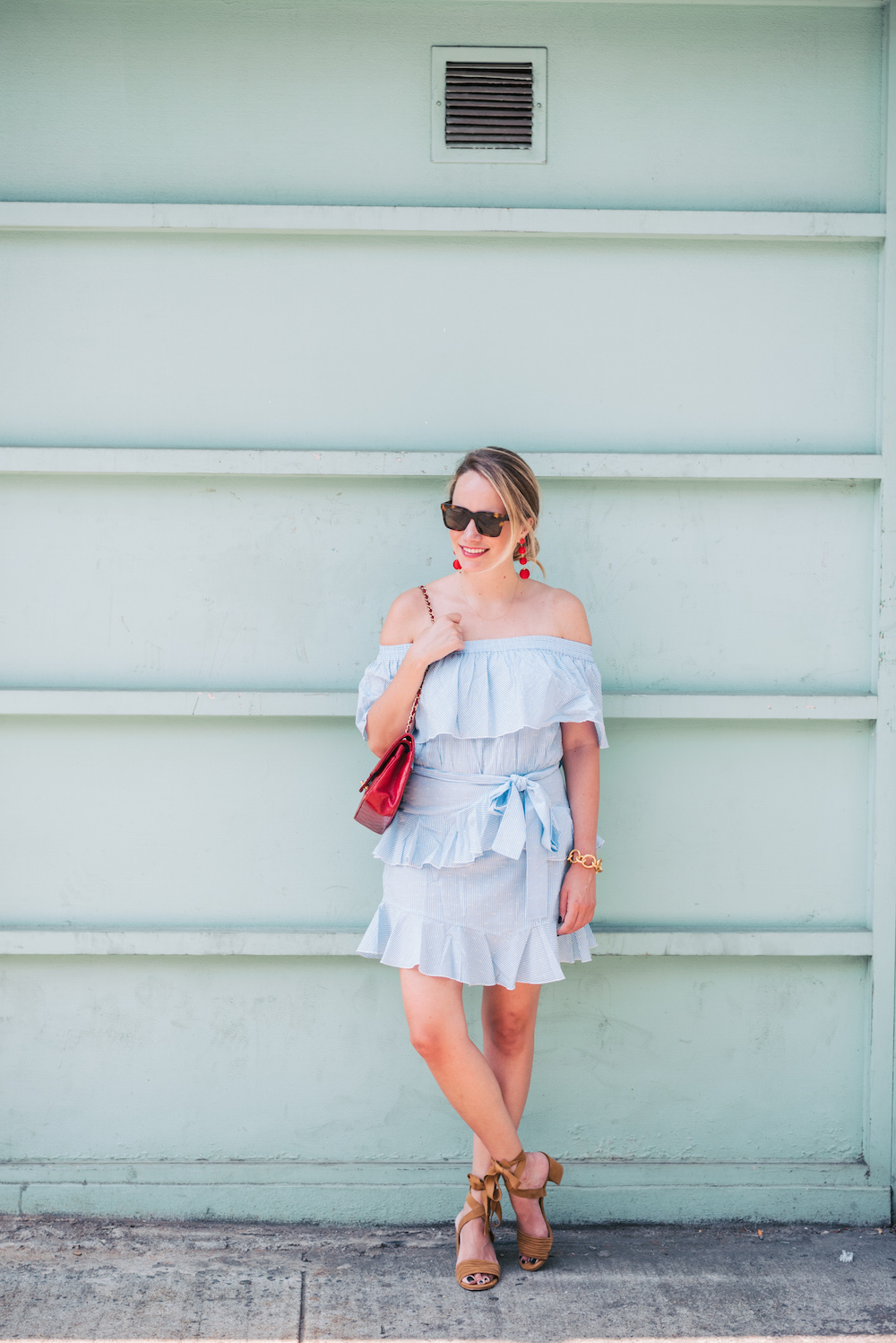 topshop bardot ruffle dress, stuart weitzman swifty sandals | grace atwood, the stripe