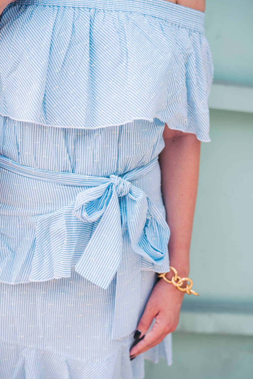 topshop bardot ruffle dress, stuart weitzman swifty sandals   grace atwood, the stripe