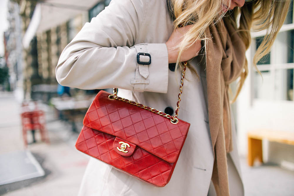 the best flare jeans, vintage quilted red chanel bag | the stripe