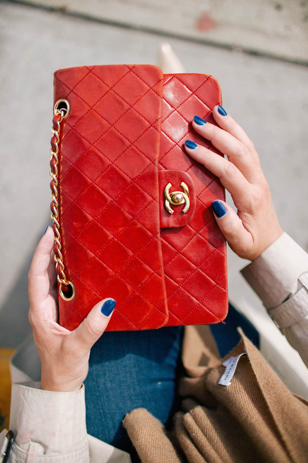 vintage quilted chanel bag in red | the stripe