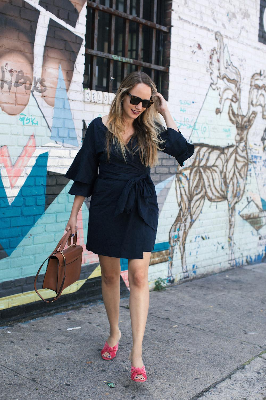 wayf portrait wrap dress   grace atwood, the stripe