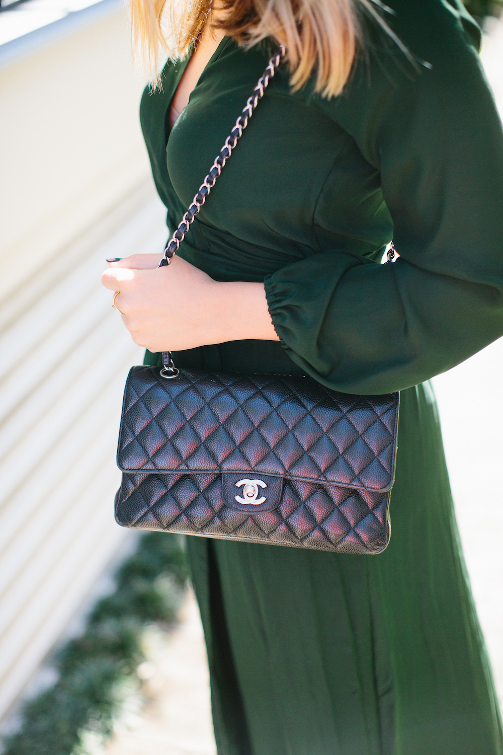 chanel classic 2.55 flap bag with silver hardware. grace atwood, the stripe | shot at 86 cannon in charleston