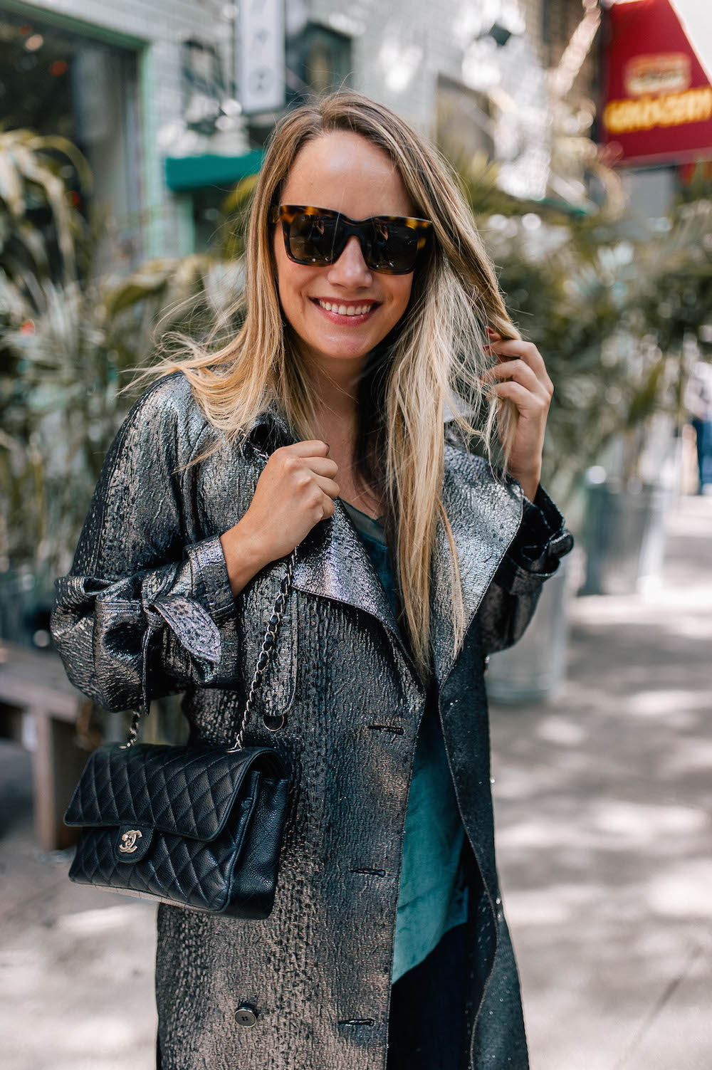 topshop silver trench coat, free people velvet camisole | grace atwood, the stripe