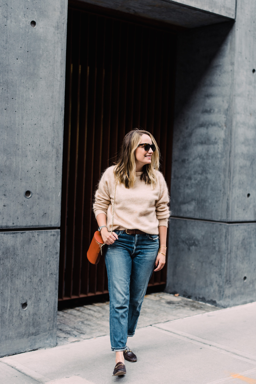 the 10 best sweaters for fall // acne studios dramatic mohair sweater, citizens for humanity boyfriend jeans, gucci loafers | grace atwood, the stripe