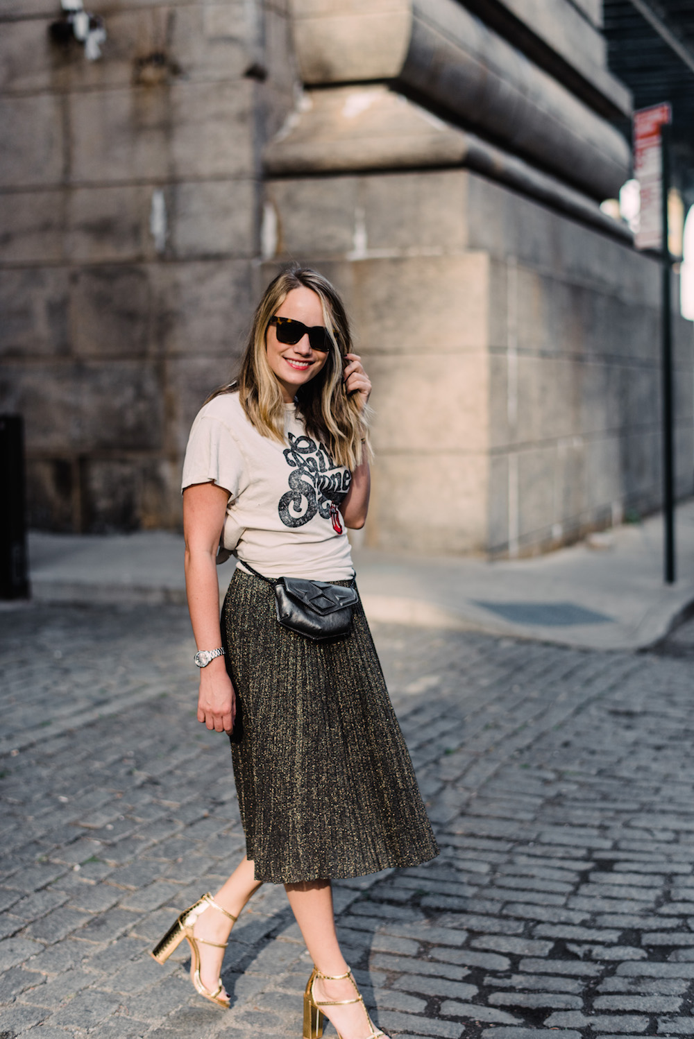 rolling stone t-shirt, club monaco sparkly midi skirt, kenneth cole metallic sandals | grace atwood, the stripe