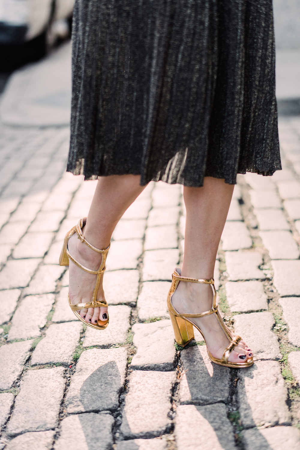club monaco sparkly midi skirt, kenneth cole metallic sandals | grace atwood, the stripe
