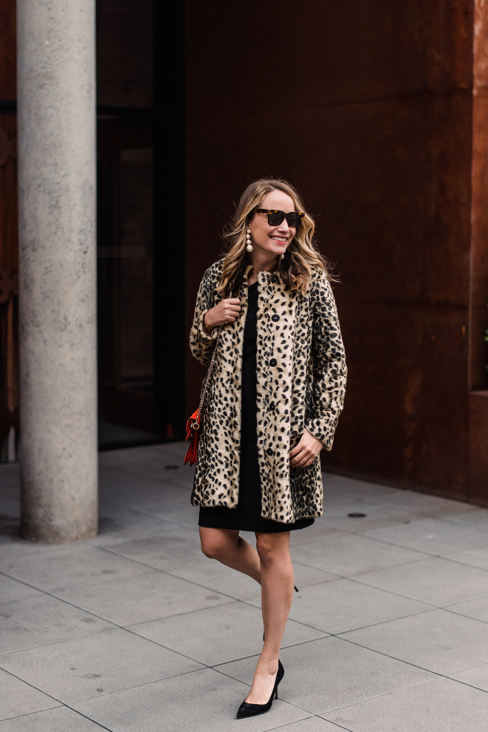 J.McLaughlin Leopard Faux Fur Pella Coat, By Malene Birger Dessa off-the-shoulder stretch-ponte dress | Grace Atwood, The Stripe - Holiday Party Outfit Idea