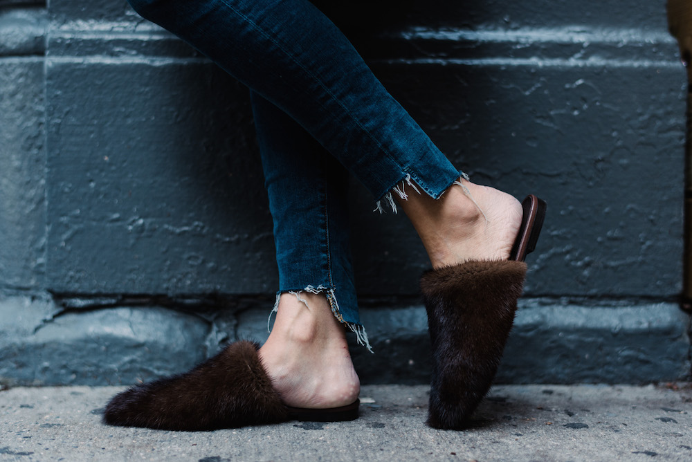 frame denim, jenni kayne fur mules | grace atwood, the stripe