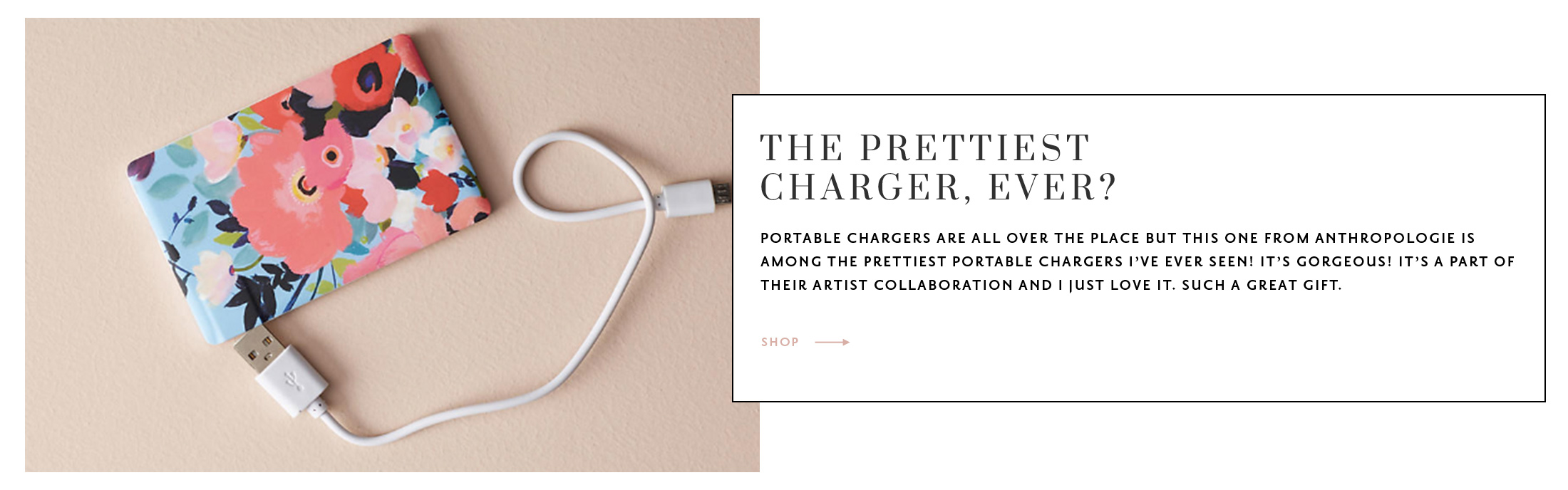 The best gifts for clients + coworkers! Anthropologie portable charger | The Stripe