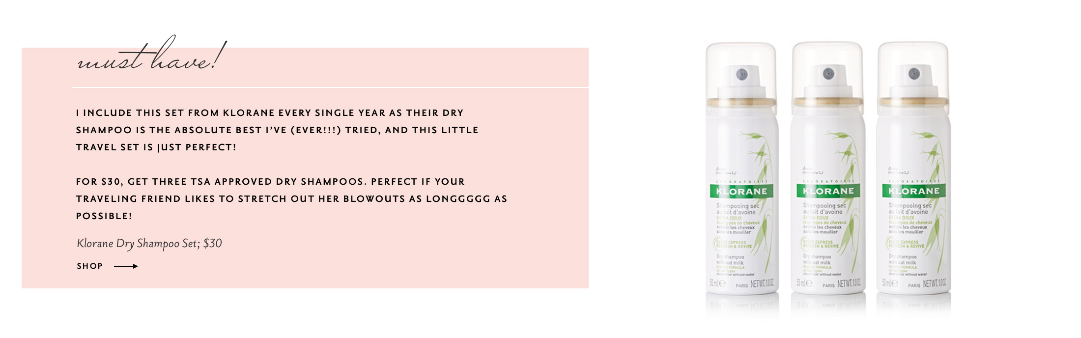 The Best GIfts for the Frequent Traveler: Klorane Dry Shampoo Set