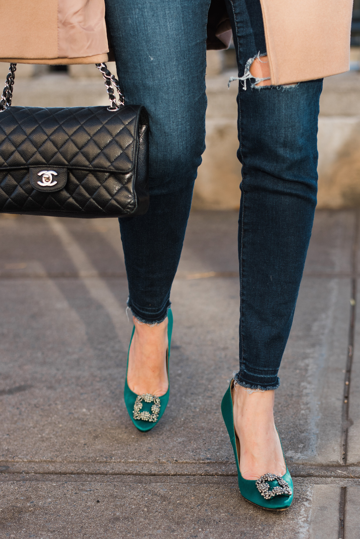 Topshop Nina Faux Fur Coat, Manolo Blahnik Hangisi Pumps in Emerald Green | Grace Atwood, The Stripe
