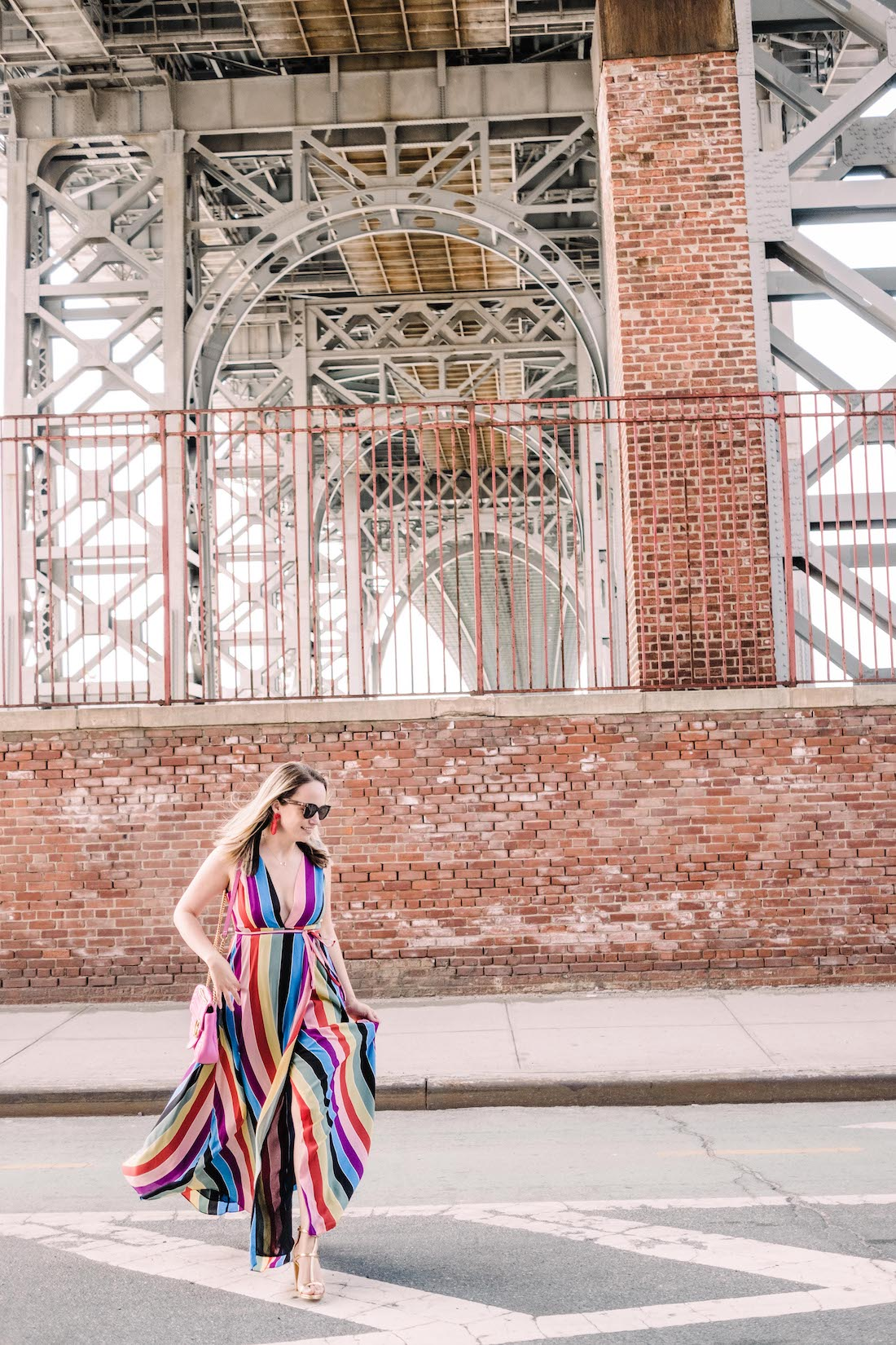 aqua rainbow striped maxi wrap dress | grace atwood, the stripe